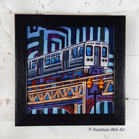 Blue El Train Box Frame Print