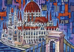 Budapest Parliament painting by Anastasia Mak