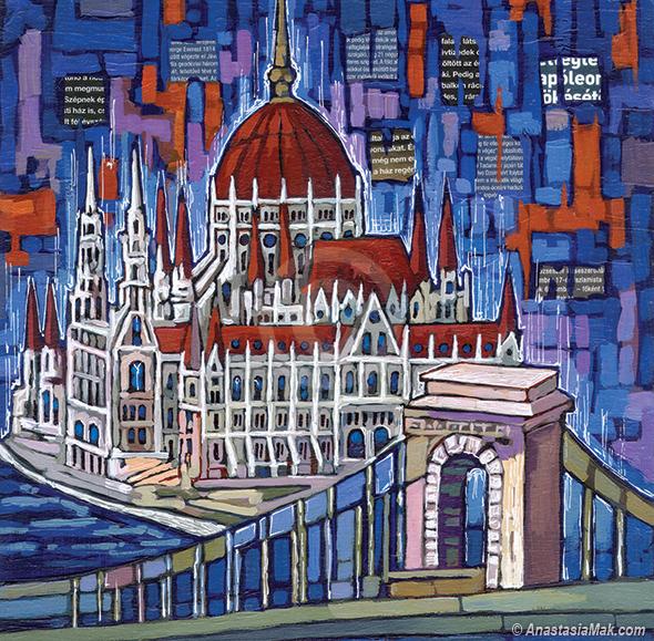 Budapest Parliament painting by Anastasia Mak