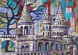 Fishermans Bastion Budapest painting by Anastasia Mak