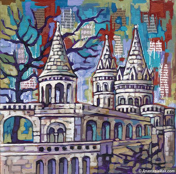 Fishermans Bastion Budapest painting by Anastasia Mak