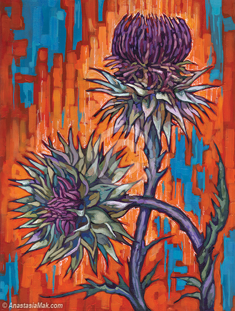Thistle Pair painting