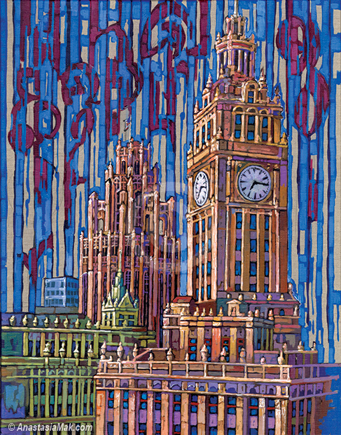 Tribune Tower and Wrigley Building painting