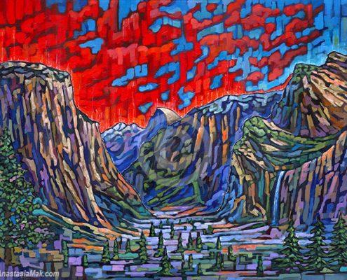 Yosemite Valley painting by Anastasia Mak