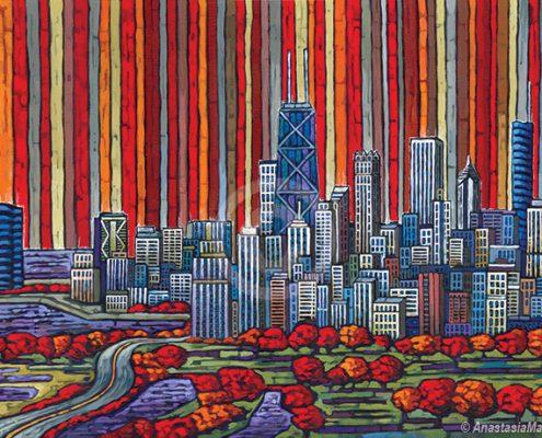 chicago autumn painting