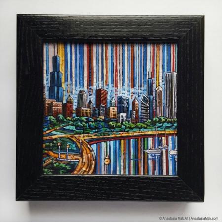 summer in chicago box frame print
