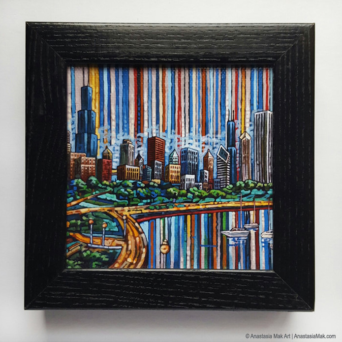 Summer In Chicago Box Frame Print - by Anastasia Mak