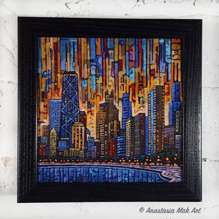 Chicago Dusk Box Frame print