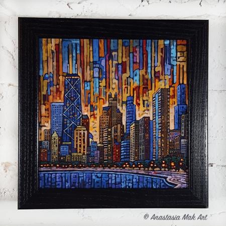 Chicago Dusk Box Frame print