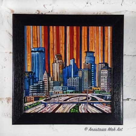 Minneapolis Skyline box frame print