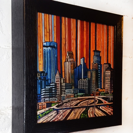 Minneapolis Skyline box frame print