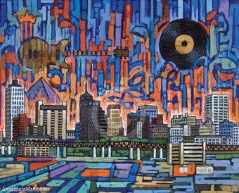 Memphis skyline painting