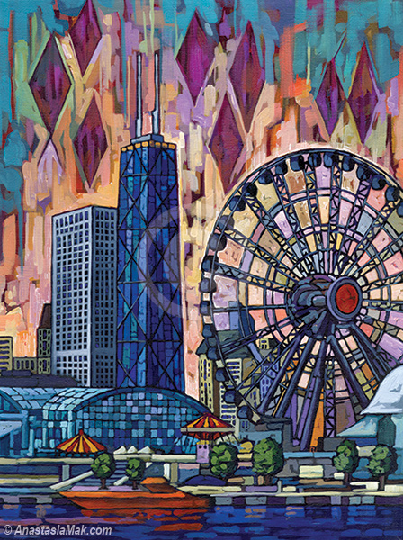 Navy Pier Ferris Wheel painting