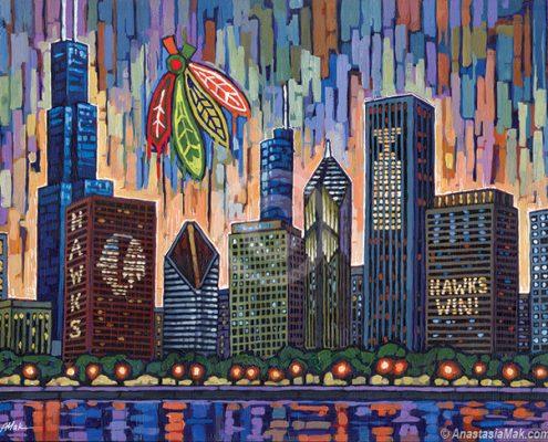 Blackhawks Skyline by Anastasia Mak Art
