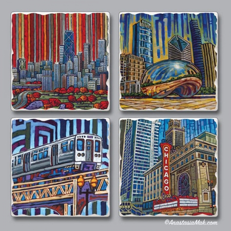 Chicago Views Coaster Set