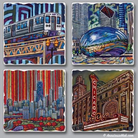 Chicago Views Coasters