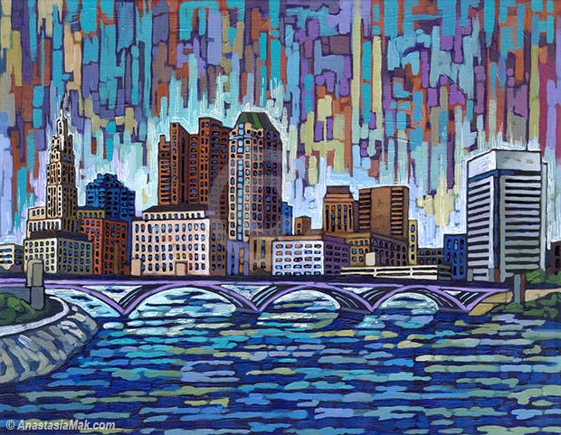 Columbus skyline painting by Anastasia Mak