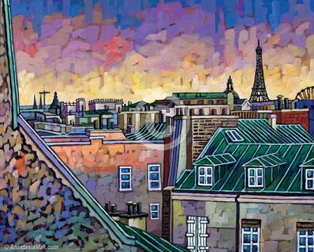 Paris Roofs painting by Anastasia Mak