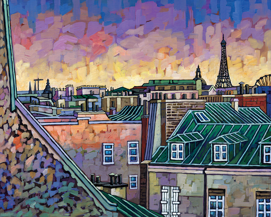 Paris Roofs painting