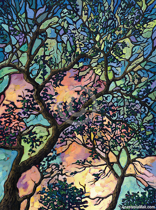 Zion Trees painting by Anastasia Mak