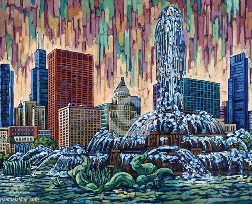 Buckingham Fountain painting by Anastasia Mak