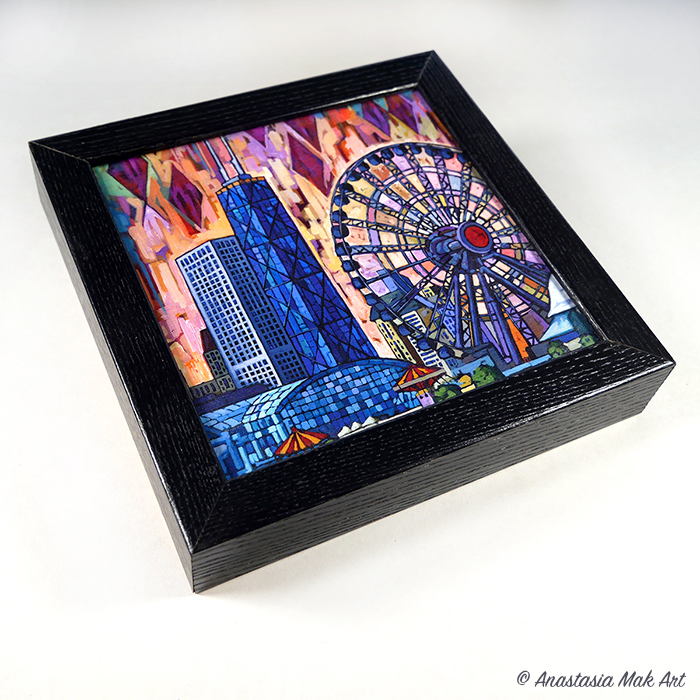Navy Pier Ferris Wheel Box Frame Print - by Anastasia Mak Art