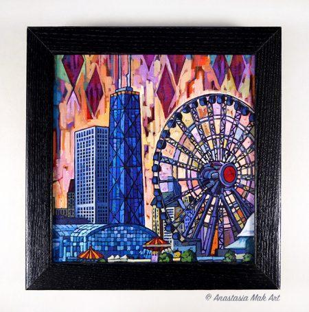 Navy Pier Ferris Wheel Box Frame Print