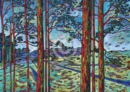 Rainbow Eucalyptus painting by Anastasia Mak