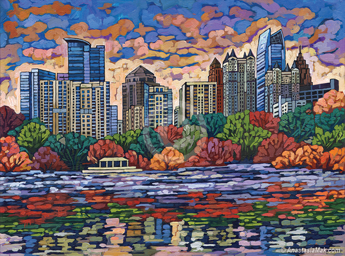 Midtown Atlanta painting by Anastasia Mak Art