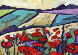 DETAIL: Poppy Field painting