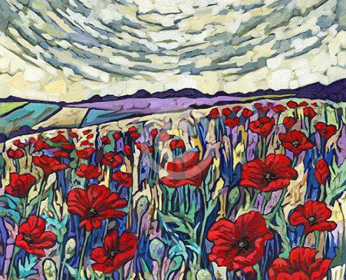 Poppy field painting by Anastasia Mak