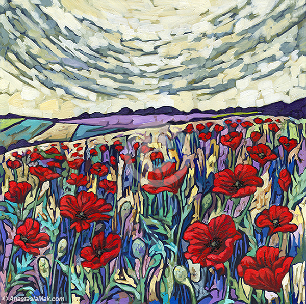 Poppy field painting by Anastasia Mak