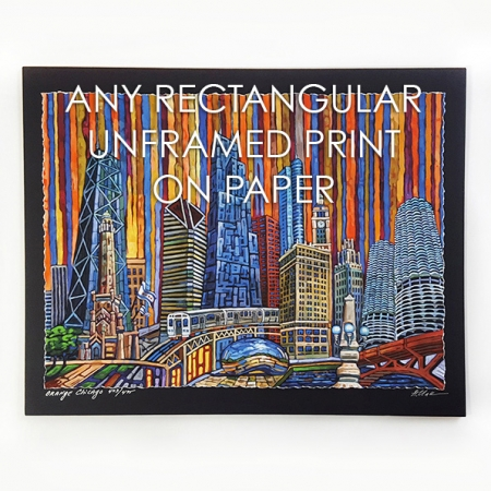 Any rectangular unframed print on paper