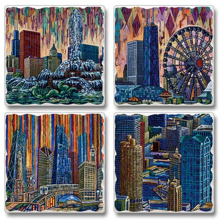 Chicago Buildings Coaster Set