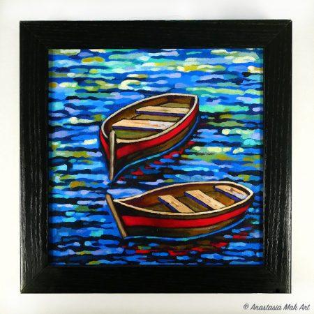 Red Boats Box Frame Print