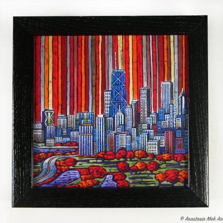 Chicago Autumn Box Frame Print