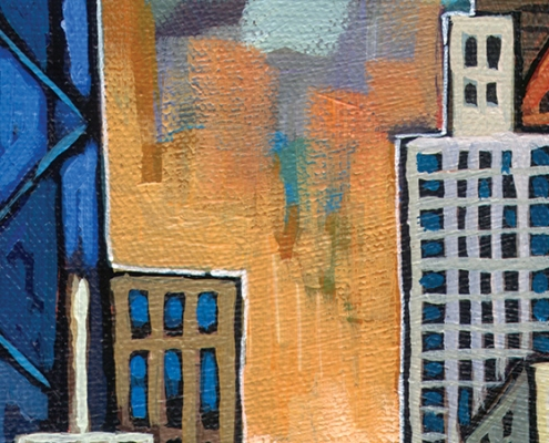 DETAIL: Biking Chicago painting