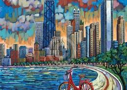 Biking Chicago painting by Anastasia Mak
