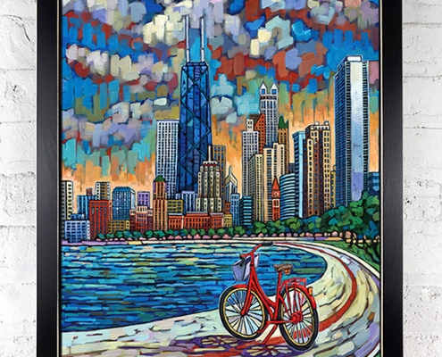 Biking Chicago painting by Anastasia Mak