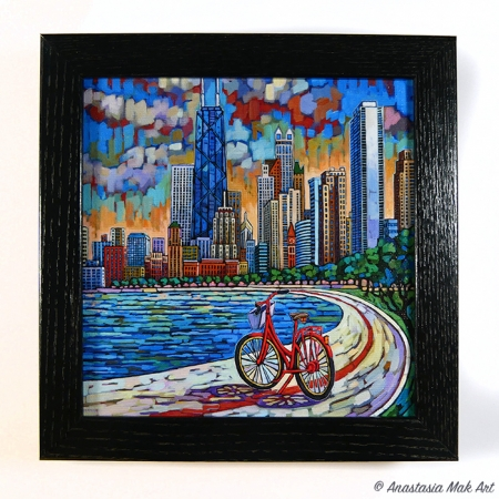 Biking Chicago box frame print