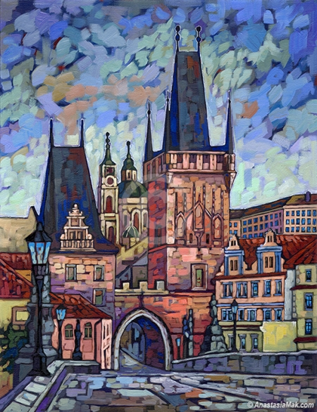 Prague Poetry painting by Anastasia Mak