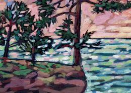 Lake Superior Shore painting DETAIL