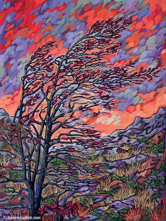 """Wind Swept"" painting by Anastasia Mak"