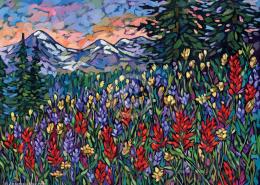 Alpine Meadow painting by Anastasia Mak
