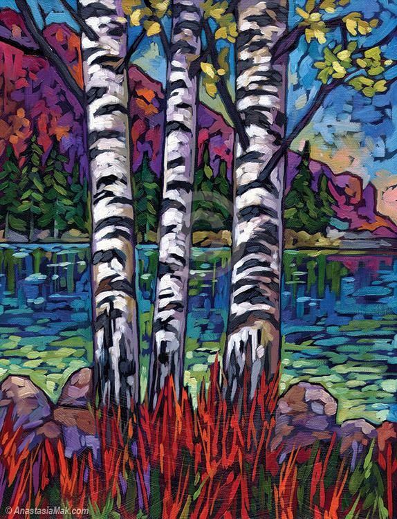 Lake Guardians painting by Anastasia Mak